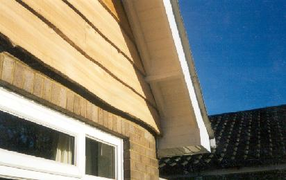 This example shows a combination of natural elm and UPVC products